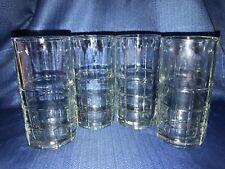 4 ANCHOR HOCKING Tartan plaid clear heavy glass ice tea glasses 16 oz vintage