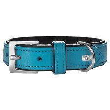 Hunter Hunde Leder Halsband Capri petrol/schwarz - Hundehalsband Gr. 60