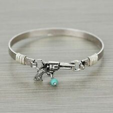 Bracelet Western Gun Pistol Bangle Cowgirl Jewelery Silver with Turquoise