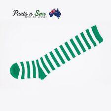 Knee High Socks Striped Ladies Long Womens Green White Stripe AU Stock