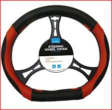 Simply SWC131 Universal Car/Van Steering Wheel Cover, Flat Bottom Red Details,