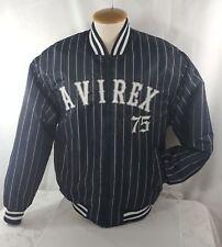 Avirex Bomber Flight Jacket Mens Blue Grey Baseball Stripe Winter Coat Zip Up M
