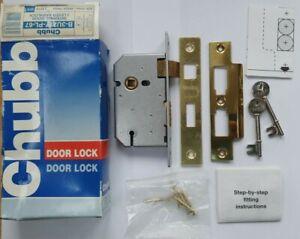 Chubb 3 Lever Sashlock Internal Wooden Door Lock & 2 Keys 67mm Brass Finish. NEW