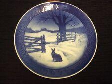 1971 Royal Copenhagen Denmark Cobalt White Plate: Hare in Winter Winterlandskab