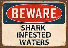 """"""" Beware Shark Infested Wasser """" Metallschild, Emaille, Vintage, no.497"""
