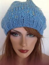 Beanie Slouch Hand Knit Hat Designer Fashion Sequined Sparkles Winter Snow