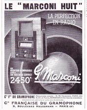 publicité de presse Radio MARCONI HUIT  1934