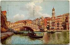 1921 Venezia Ponte di Rialto Fondamenta gondole Quartiere Postale FP COL VG ANIM