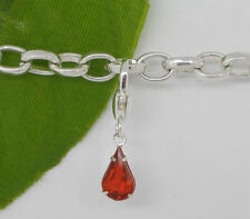 SILVER & RED CZ TEARDROP  CLIP-ON CHARM - 925 S/P - NEW