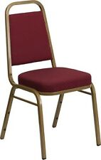 10 PACK Trapezoidal Stacking Banquet Chair w/Burgundy Pattern Fabric &Gold Frame