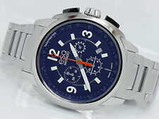 NEW ESQ MOVADO 07301417 BLUE CHRONOGRAPH SWISS QUARTZ MEN'S STEEL WATCH EXCEL