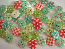 100 x GINGHAM/POLKA  DOT 2 HOLE WOODEN 15mm SEWING BUTTONS, SCRAPBOOKING, craft