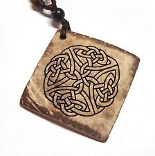 Celtic Knot Coconut Shell Square Pendant Necklace 18in Engraved Circle Pattern 2