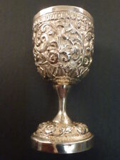 INDIAN EMBOSSED SILVER EGG CUP OR SMALL GOBLET