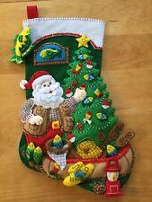 New ListingLodge Santa - Bucilla Felt Christmas Stocking Finished - Hand Sewn 18� Fishing