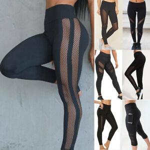 Ladies Seamless Leggings Yoga High Waist Women Gym Pants Fitness Mesh Trousers L