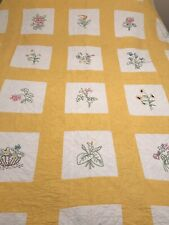 "Vintage Homemade Yellow With Flowers American Quilt  83"" By 70"""