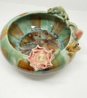 Vintage Ceramic Frog & Flower Planter /Bowl Lilly Pad, Majolica Style Rich Color