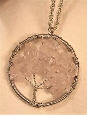 Wire Wound Silvertone Pale Pink Crystal Stones Tree of Life Pendant Necklace