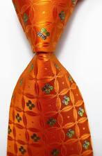 New Classic Floral Orange Green JACQUARD WOVEN 100% Silk Men's Tie Necktie