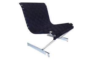 Retro Vintage Mid Century Scandinavian cantilever chrome lounge chair