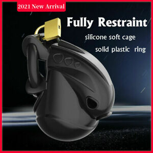 2021New Male Fully Restraint Chastity Device Silicone Adjustable Cuff-Ring Cage