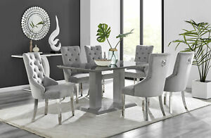 Imperia 6 Grey Dining Table and 6 Grey Belgravia Chairs