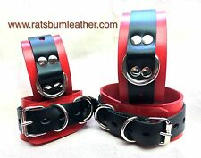 Red and Black Leather Wrist Ankle Bondage Restraint band Bdsm cuff Rats Bum