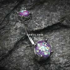 Opal Sparkle Prong Set Belly Button Ring - Purple