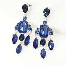 orecchini Argentato Candeliere Art Deco Cristallo Zaffiro Blu Matrimonio QD4