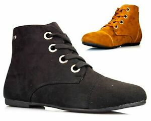 Ladies Womens Flat Heel Lace Up Casual Biker Ankle Pixie Boots Shoes Size