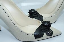 New Christian Dior Women's Shoes Pump Size 40 Beige Black Ecru Blossom