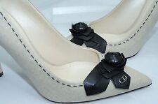 NUEVO CHRISTIAN DIOR mujer Zapatos Manoletinas talla 40 BEIGE NEGRO CRUDO