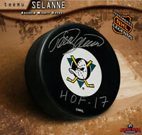 Teemu Selanne signed Anaheim Mighty Ducks Puck - HOF 17