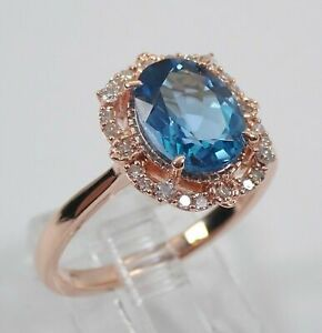 2Ct Oval Cut London Blue Topaz Halo Unique Engagement Ring in 14K Rose Gold Over