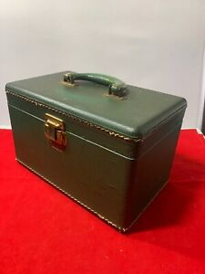 VINTAGE LUCE GREEN TRAVELING MAKEUP HARD SHELL CARRYING BOX LUGGAGE 11X7X7
