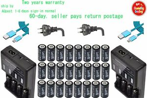2xMulti Charger+24xCamera Rechargeable Battery CR123a RCR123a 16340 3.7v 650mAh
