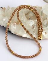 Natur Zirkon Kette edelsteinkette Facettierte Braun Collier 925 Silber Schmuck