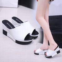 Womens Ladies High Wedge Platform Heels Slippers Open Toe Slides Sandals Shoes