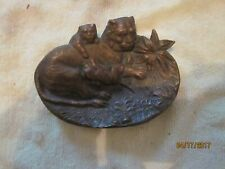New listing c.1890 Art Nouveau Red Bronze Lions Playing Figural Change or Pin Tray