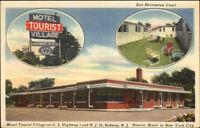 Rahway NJ Motel Tourist Village Linen Postcard