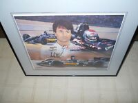 """MICHAEL ANDRETTI AUTOGRAPHED 16"""" X 20"""" SIGNED    FRAME SIZE 24"""" X 30""""   102/450"""