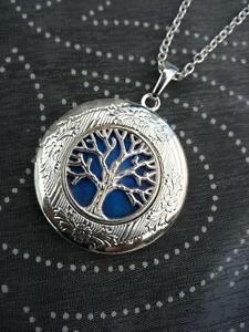 Tree of Life LOCKET Necklace Pendant Gothic Blue Silver Vintage Fantasy Vintage