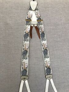 Trafalgar Suspenders Braces Limited Edition Safari Y Back Leather Button Vtg