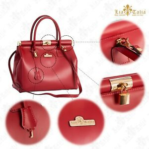 Womens 100% Genuine Italian Leather Top Handle Satchel Shoulder Handbag Bag - L