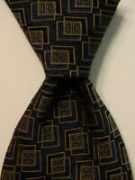 GIVENCHY Men's 100% Silk Necktie ITALY Designer Geometric Blue/Gold/Black EUC