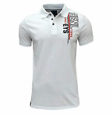 Henleys Men's Bart Original Logo Polo T Shirt White Small