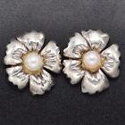 Tiffany & Co. Sterling Silver & 14K Gold Sea Pearl Flower Stud Earrings 12.7 mm