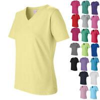 LAT Ladies' Womens Tops Tees Short Sleeve V-Neck T Shirt 3587