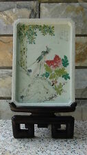 ANTIQUE 18c-19c CHINESE FAMILLE ROSE PHOENIX PORCELAIN TRAY,PLAQUE ON STAND